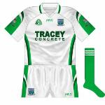 2007: White edition of the new design, though without the 'pinstripes' of the green jersey. Used for the qualifier game against - yes - Meath.