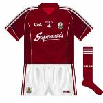 2013-: With Galway hurling and football affairs now run by a singular county board, it was decided to have the same jersey, crest and sponsor for both. Supermac's unsurprisingly remained on the front of the jerseys.