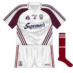 2015: Despite being a 2008 design and a hurling change shirt, this was used by the Galway footballers against Westmeath. Only for the first half though - the second period saw the 'normal' alternative worn.