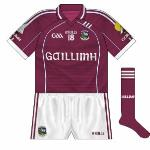 2011: As Aer Arann went into examinership they ceased to sponsor the Galway footballers, meaning that O'Neills provided these jerseys for the early part of 2011 with the county's name in Irish replacing the airline.