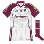 2009: When Galway met Westmeath in the league of 2009, both counties changed jerseys. The Tribesmen's top was the same design as the traditional one, a white body with maroon sleeves, but without the additional designs on the front.