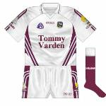 2007: The new goalkeeper jersey was just a simple reversal of the maroon top, with the sleeves white for the first time in quite a while. Text of the county's name in Irish was also added to the socks for the first time.