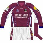 2006: With Galway wearing white against Westmeath, a maroon goalkeeper shirt was used. Almost identical to the long-sleeved regular jersey, it had navy cuffs.