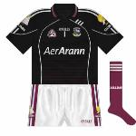 2008: A change with the new set of jerseys was that black replaced white as the first choice for Galway football goalkeepers. Almost following the maroon design, the sleeves were slightly different while the front didn't have the circles.