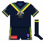 1998: When the series was reintroduced, Australia lined out in an all-navy outfit, reminiscent of that used for the first series in 1984. Made by Puma, the strip did feature the traditional Australian colours of green and gold as trim.