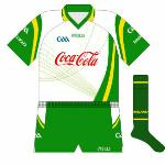 2008: With the series taking a break in 2007, for the 2008 tour Ireland were once again in a new kit, and for a change the design was one also used by a county, with Westmeath having lined out in a similar pattern.