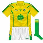 2010-11: As usual, a straightforward reversal of the regular jersey - or almost, as, for some reason, the middle stripe on the sleeve was fatter than on the green top.