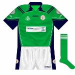 2007: London returned to O'Neills, with navy again prominent. The Byrne Group, a construction company, were the new sponsors. As O'Neills could only use the three-stripe motif in Ireland, onl two were used here.
