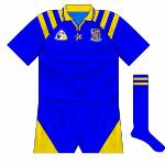 1995: Unsponsored jersey worn for Longford' only championship outing, a heavy loss to Meath. Featured a standard Connolly design.