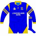 1996-97: The Longford Arms Hotel came on board as sponsors and the county utilised another Connolly design, the same as that used by Clare in winning the 1995 hurling All-Ireland. Only ever worn in long-sleeved format as far as we can ascertain.