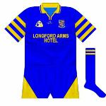 1998: For the next game, against Westmeath, a brand-new design with hooped sleeves was introduced. Oddly, however, two different styles were used in the one match, one with a Connolly logo...