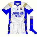 2009: For the game with Wicklow, a slightly different white jersey to the 2007 model was utilised, featuring more blue panels.