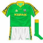 2001: Brought in for the 2001 championship opener against Westmeath (the first of three meetings that year) was this nice new design. The stripe on the shorts broadly followed the sleeve details.