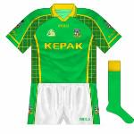 2004-05: For the O'Byrne Cup final with neighbours Westmeath in 2004, this jersey was first worn but was quickly replaced. The first to feature the new county crest, it was used at times in the early part of the following year.