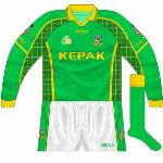 2004-06: First seen in the league game against Laois in March, this jersey differed slightly from that which had been introduced earlier. The squares were now more visivle while a darker green also featured and white disappeared from the collar.