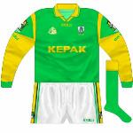 2001: Meath played Westmeath three times in the '01 championship. The third of these was the All-Ireland quarter-final replay, a very wet day, so Meath wore long sleeves. The jerseys were the old design, but with green cuffs.