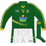 2013-: Another change of sponsor meant a new shirt, with Tayto Park in Ashbourne taking over from the Comer Group. The first Meath jersey in a while to feature a collar, the checked pattern was unique to the county. First worn with long sleeves in early part of the year.