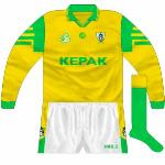 1999-2000: Long-sleeved shirt worn with new shorts in league quarter-final against Kerry, and again the following year against Mayo.