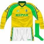 2001: Meath goalkeeper Cormac Sullivan wore a different jersey for every championship game in 2011. This time, the neck changed while two white stripes were added.