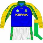 2004: For the Fermanagh game this goalkeeper's top was utilised, essentially a blue-bodied version of the regular GK kit.
