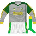 2008: While it had been demoted to second-choice goalkeeper colour with the re-instatement of the traditional gold, the grey jersey saw service in that game against Limerick. The dark green shorts were replaced by the more usual white, though.