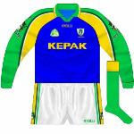 2001: With gold worn against Kerry in the All-Ireland semi-final, a change of goalkeeper shirt was required. As usual, blue was the choice, with the sleeves the same as the outfield shirts.