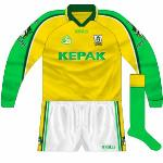 2001: Yet another change for the All-Ireland final. This was basically a long-sleeved version of the Meath change shirt, with the sleeves contrasting with the other 14.
