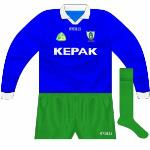 2002: Plain blue shirt worn when Meath donned an all-green kit against Donegal.