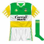 1997: Odd variant with O'Neills written in black, worn against Kilkenny in Leinster championship. GAA logo and crest moved downwards again.