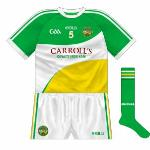 2013-: Quite a change, with the tricolour blocks now curved. In addition, the back was completely green, meaning a half-time change in the jersey's first outing against Limerick.