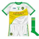 2013-: With the green back of the new regular shirt causing problems against Limerick, the team wore a white version with a gold splash across the front in the league final against the Shannonsiders.