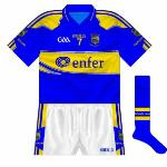 2010: This kit will be remembered for being worn as Tipperary's nine-year wait for a senior hurling All-Ireland was ended with a comprehensive win over Kilkenny. Identical to the previous two years except for the GAA logo.
