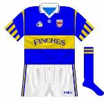 1995: From 1994 on, O'Neill began to outfit counties in their new Páirc design, which featured stripes of varying heights on the sleeves.