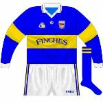 1996: There was no long-sleeve version of the Páirc design, so a plainer type was used for winter games.