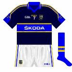 2011: The change jersey remained navy, and was again worn by the footballers in the All-Ireland qualifiers.