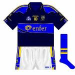 2008-10: Tipp had traditionally worn gold jerseys in the event of a clash of colours, so this was a new departure. Worn in the NHL against Laois in 2008, and in the football qualifiers against the same county in 2010.