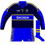 2011: Long-sleeved version of new change jersey, worn by Cummins as he equalled the all-time championship appearance record in the Munster final against Waterford. Despite the availability of navy shorts and socks, blue ones were used.