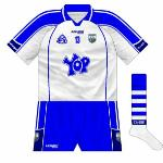 2008: While the previous jersey had been worn in the early part of the year, Azzurri released a brand-new design for Waterford in 2008, with navy more prominent than it had been while the mainly blue sleeves featured two white stripes.