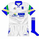 1997: For 1997, Waterford entered into a nw sponsorship deal with Waterford Co-op. The logo on the front combined the co-op's with that of their Gain Feeds product, while the sleeves now incorporated the same three colours as the Waterford Co-op logo.