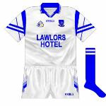 1999-2000: The blue and white sleeves returned, essentially the same as the 96-97 shirt but with the  O'Neills name instead of the Guaranteed Irish logo.
