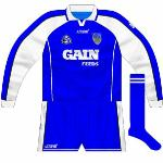 2003: The first goalkeeper jersey used with the new kit was a basic reversal, blue with mainly white sleeves.