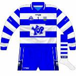 2008: Another addition for 2008 was that teams now had to have numbers on the front of their jerseys, below the manufacturer's logo and between the GAA and county crest, which in Waterford's case was another new design.