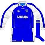 2003: Like the county's hurlers, Waterford footballers used two different blue Azzurri goalkeeper jerseys.