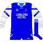 2002: The Waterford football goalkeeper jersey featured a blue and gold GAA logo rather than the blue and black one.