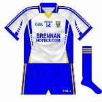 2010: Despite being drawn away to Cavan in the qualifiers, Wicklow had to change for the second year in a row. Again blue shorts were worn, with the jersey the same design as the home, though the 'stripe' motif was solid rather than faded.