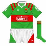 1993-94: Mayo changed from O'Neills to Connolly at the start of 1993. The Galway company provided them with one of their widely-used templates, while the Univet logo now featured.