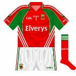 2011: The primrose and blue of Roscommon meant a change of goalkeeper shirt so the traditional red was used. Only differed from change jersey in that red and green switched places on the collar.