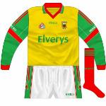 2007: Yellow version of the white top which had been used against Donegal. This was the selection for the All-Ireland qualifiers against Derry as both red and white would have clashed.