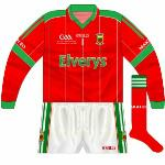 2009: While red was superseded by white with the launch of the new kit, this jersey was occasionally used. The text below the GAA logo read 'ESB GAA Football All-Ireland Minor Championship Final 2008'.