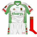 2005: Despite Mayo having worn red against Kerry in the league, both sides lined out in predominantly green for the All-Ireland quarter-final. A few weeks later, however, Mayo minors wear white against the Kingdom.